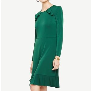 Ann Taylor Knit Ruffle Flare Dress in Shaded Moss